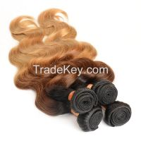 Body Colored Three Tone Ombre Brazilian Hair Weave Wet and Wavy