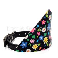 PU Dog cravat collar flower print