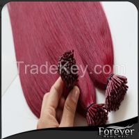 Forever factory price best quality real remy hair extensions stick tip hair