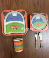 Promotional wholesale biodegradable bamboo fiber kids tableware sets