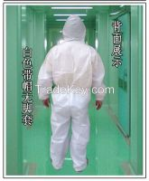 One-time breathable membrane protective clothing with hood conjoined p