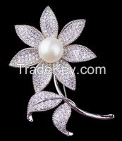 white pearl and white CZ dual flower brooch/pendant