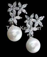AAA high quality marquis CZ and pearls earrings