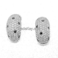 handmade silver earrings with micro-setting CZ