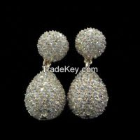 AAA CZ with white rhodium plating brass earrings drop earrings