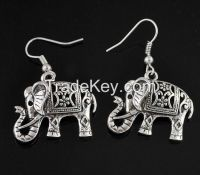 antique silver elephant earrings with fish hook
