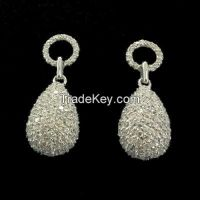 tiny CZ drop earrings with white rhodium plating