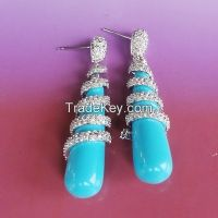 natural turquoise stone jewelry gemstone earrings