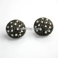 lovely handmade earrings with AAA CZ and black gold plating