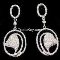heart shaped earrings set with high quality white CZ, rhodium plating
