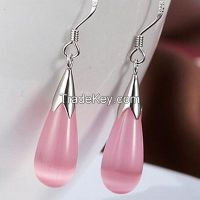 925sterling silver earrings, rose quartz earrings, cat's eyes earrings