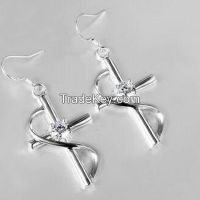 925 sterling silver(brass) cross earrings with CZ