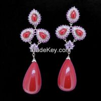 latest  beautiful coral earrings with amethyst CZ