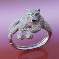 925 sterling silver with high quality CZ animal leopard bangles/ bracelets