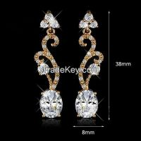 New style lady's silver earrings with AAA-cubic zirconium