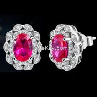 red ruby earrings, 925 sterling silver earrings supplier