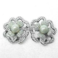 Four leaf clover earrings, women flower earrings with pearls