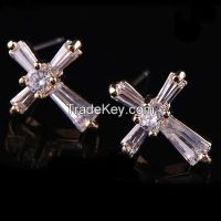 925 sterling silve princess cut diamond/CZ earrings
