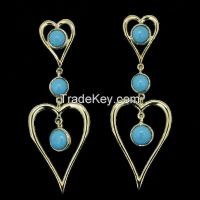 indian costume earrings with turquoise stones