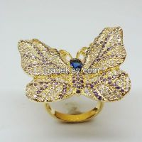nice style AAAAA CZ girls' gold plating rings, butterfly ring