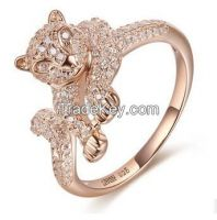 925 sterling silver with AAAA CZ rose gold plating leopard rings, prong setting