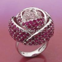 nice rose flower brass ring , red ruby with white rhodium plating
