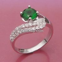 green chrysoprase and CZ rings made of brass