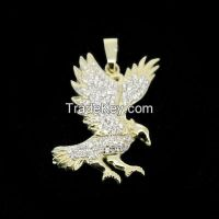 high quality 925 sterling silver pendant with CZ and real gold plating