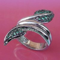 invisible setting ring, emerald rings with black and white rhodium plating