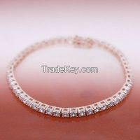 925 sterling silver tennis bracelets with rose gold plating