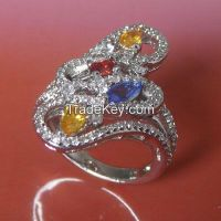 gemstone and CZ rings, brass metal with white rhodium plating rings