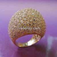 AAA grade shiny CZ with yellow gold plating rings