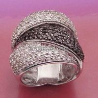 AAA white and back CZ with rhodium plating rings