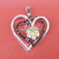double heart 925 sterling silver pendant, valentine's gift