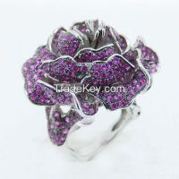 AAA red ruby with black gold plating invisible setting silver rings