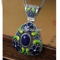 925 sterling silver / brass cloisonne enamel pendant