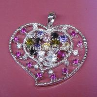925 sterling silver colorful CZ heart-shaped pendant girls' pendants