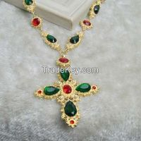 hot sale! emerald and red ruby yellow gold necklace