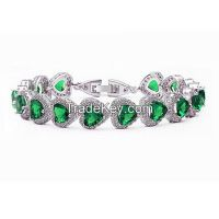 emerald and CZ sterling silver gemstone bracelet s