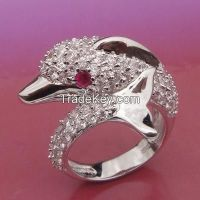 prong setting rings, white CZ rings cute dolphin rings
