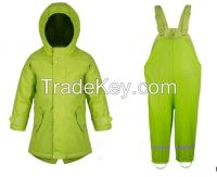 100% waterproof breathable PU coating Children/kids raincoat
