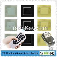 EU/UK Metal frame remote control electrical light switch
