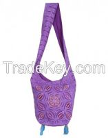 Purple Cotton Floral Applique Work Sling Bag