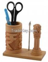 Brown Wood Carved Pen Holder