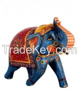 Blue Wood Floral Hand Painted Elephant Collectible Figurine