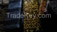 Handcrafted Wax Batik/ tie dye, Adire from Nigeria, 5 yards of 100%cotton. Colour Purple on black Background