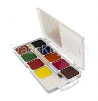 10 watercolor set, square pans, plastic box, with hanger,