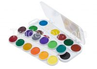 24 watercolor set, round pans, plastic box, with hanger, with / without brush
