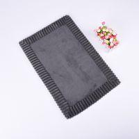 Dark Grey Memory Foam Design Coral Fleece Bath Mat