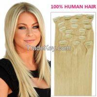 Hot sale 100%human hair clip-in hair  Brzailian hair